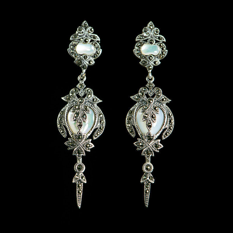 Sterling Silver & Marcasite Mother of Pearl Rococco Style Earrings - main