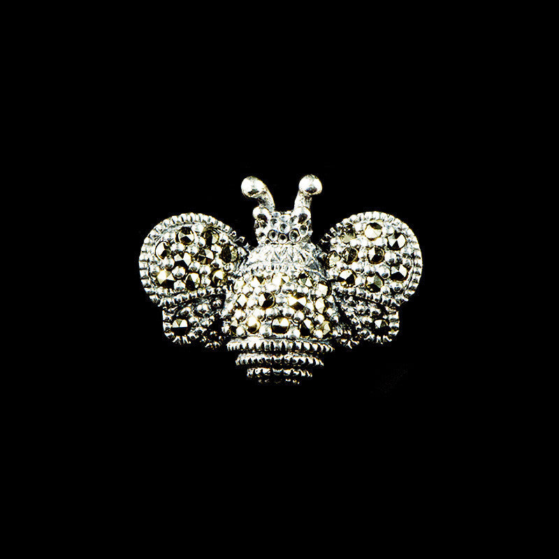 Luke Stockley Sterling Silver & Marcasite Tiny Bumble Bee Brooch (HB317)