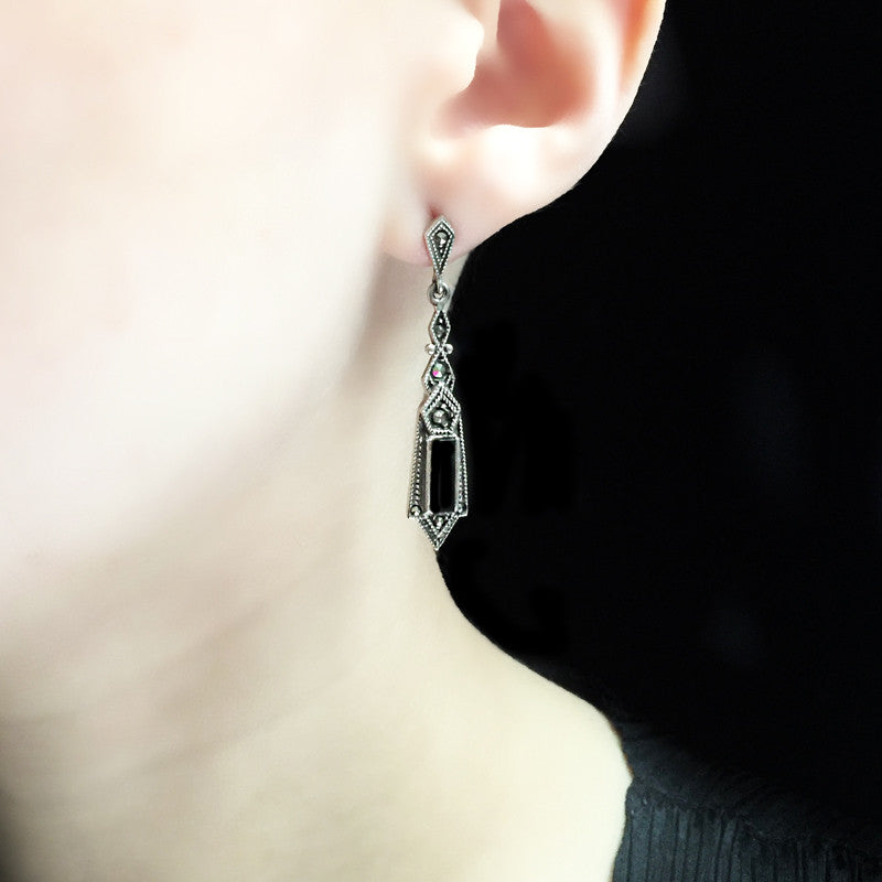 Luke Stockley Marcasite Black Onyx Deco Earrings (EAE1380)