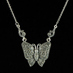 Sterling Silver & Marcasite Butterfly Necklace - main