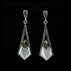 Sterling Silver & Marcasite Mother of Pearl Art Deco Earrings - main