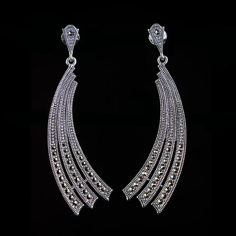 Sterling Silver & Marcasite Art Deco Comet Earrings - front
