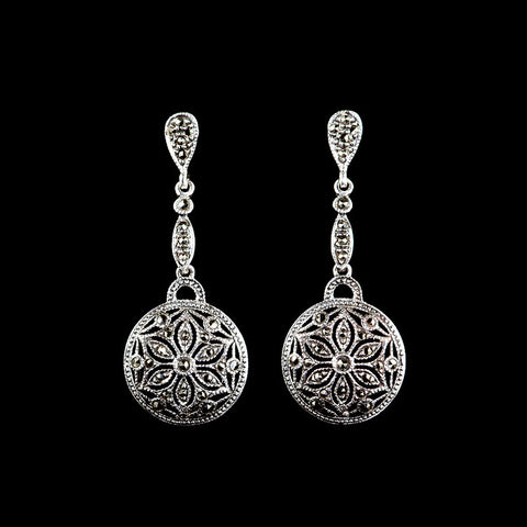 Luke Stockley Marcasite Classical Fretwork Drop Earrings (KE797)