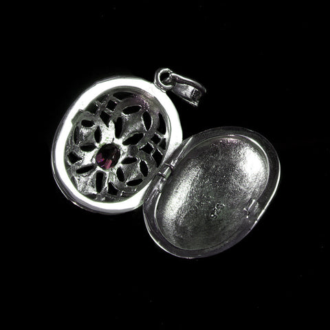 Sterling Silver & Marcasite Garnet Oval Locket - open