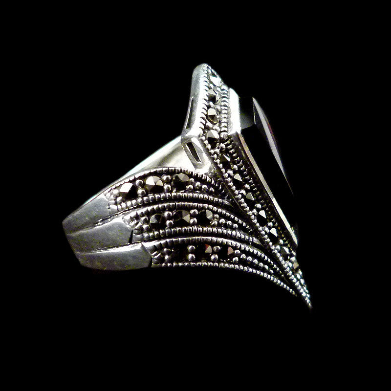 Sterling Silver & Marcasite Black Onyx Art Deco Silver Ring - side