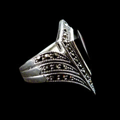Luke Stockley Sterling Silver & Marcasite Black Onyx Art Deco Silver Ring (HR197)