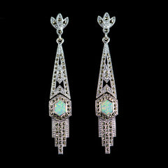 Luke Stockley Marcasite Long Art Deco Opal Long Earrings (HE111)