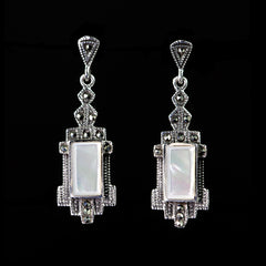 Sterling Silver & Marcasite Mother of Pearl Deco Earrings - main