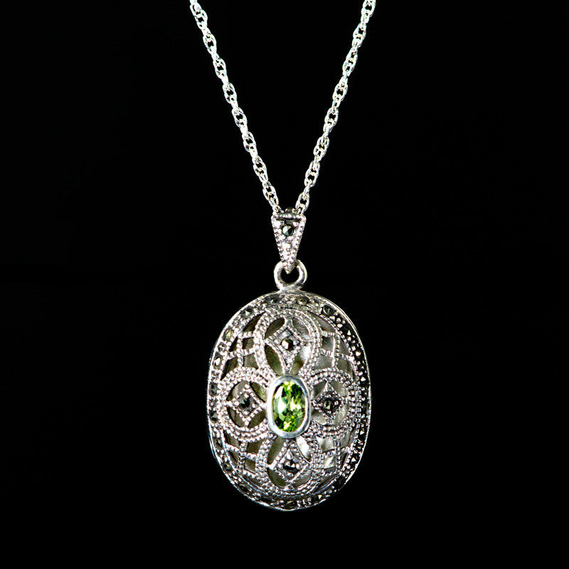 Luke Stockley Sterling Silver & Marcasite Peridot Oval Locket (PM221PD)