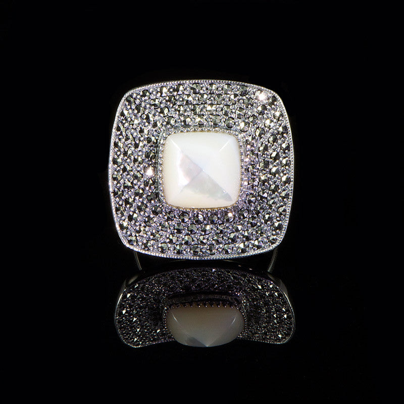 Luke Stockley Marcasite Mother of Pearl Square Ring (RA267MOP)