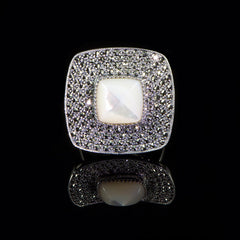 Sterling Silver & Marcasite Mother of Pearl Square Ring - main