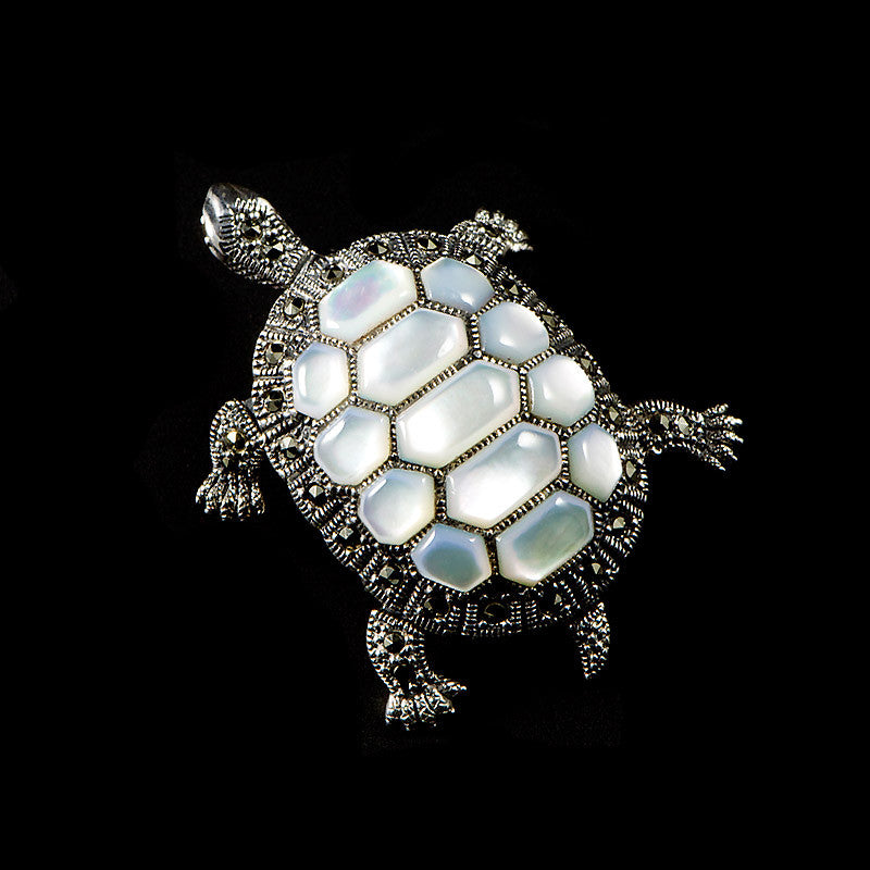 Sterling Silver & Marcasite Turtle Mother of Pearl Pendant Brooch - front
