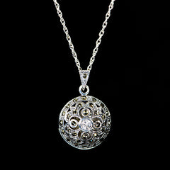 Sterling Silver & Marcasite Round Cage CZ Locket - main