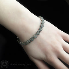 Luke Stockley Sterling Silver & Marcasite Classic Leaf Link Bracelet (BR256) model