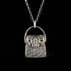 Luke Stockley Sterling Silver & Marcasite Fretwork Hand Bag Pendant Necklace (SMN363)