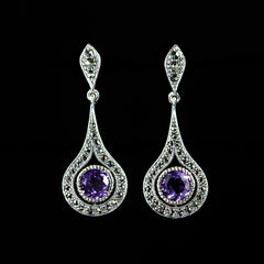 Sterling Silver & Marcasite Amethyst Tear Drop Earrings - main