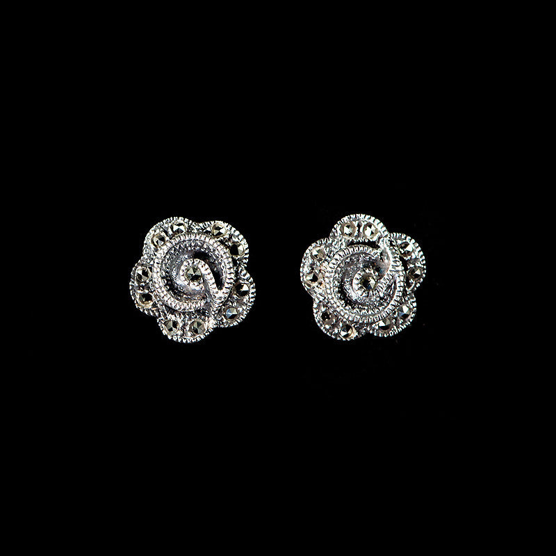 Luke Stockley Marcasite Rose Stud Earrings  (KE71292)