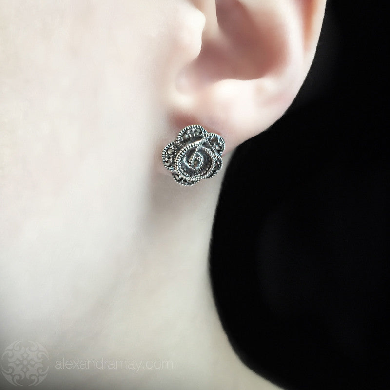 Luke Stockley Marcasite Rose Stud Earrings  (KE71292) model