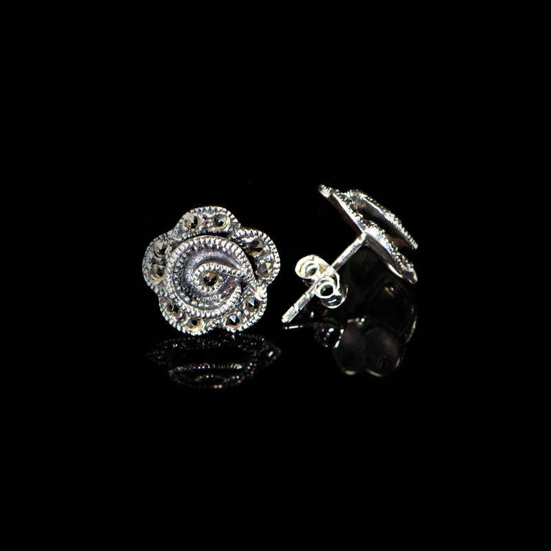 Sterling Silver & Marcasite Rose Stud Earrings -main