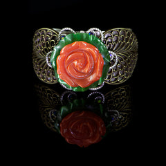 Ollipop Satin Glass Rose Cuff (BR267) Front