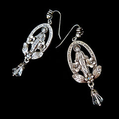 Sweet Romance Virgin Mary Crystal Drop Earrings - main