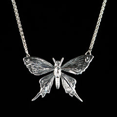 Sterling Silver Etched Butterfly Necklace - main