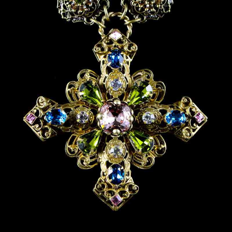 Sweet Romance Baroque Filigree Cross Necklace - detail 1