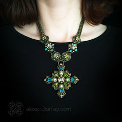 Sweet Romance Baroque Filigree Cross Necklace (N201) model