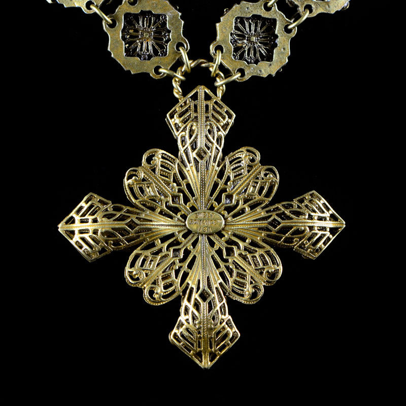 Sweet Romance Baroque Filigree Cross Necklace - reverse