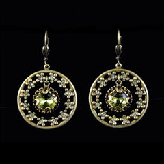 Sweet Romance Jeweled Circle Olive Green Crystal Earrings - full