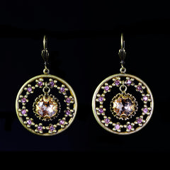 Sweet Romance Jeweled Circle Vintage Rose Crystal Earrings - full