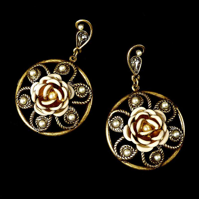 Sweet Romance Cream Enamel Rose Earrings - main
