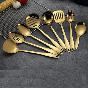 1PC Gold Titanium Stainless Steel Cooking Tools Spoon Shovel Cookware Kitchen Tools Cocina Utensilios Spatula Ladle Kitchenware