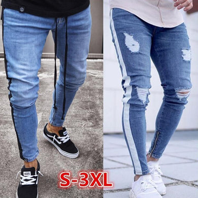2019 Skinny Jeans Men Sexy Ripped Hole Stretch Denim Trousers Male