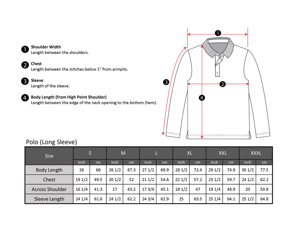 Long sleeve polo size chart