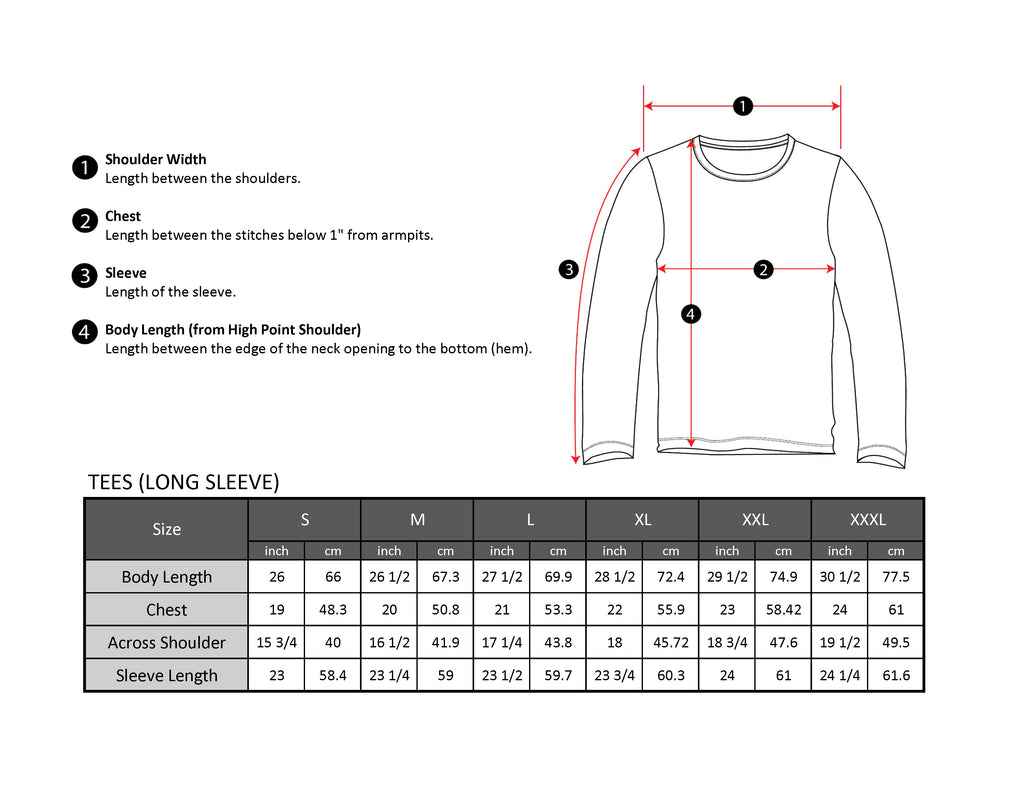 Long sleeve tee size chart