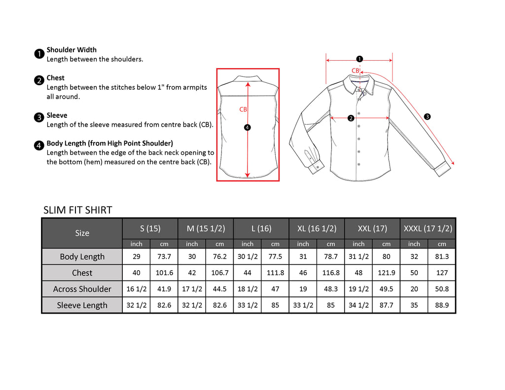 Long sleeve shirt size chart