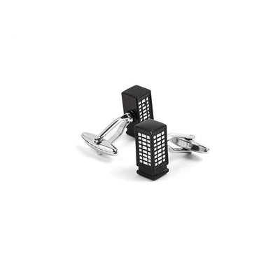 Novelty Cufflinks - Black Phone Booth - Cuffz