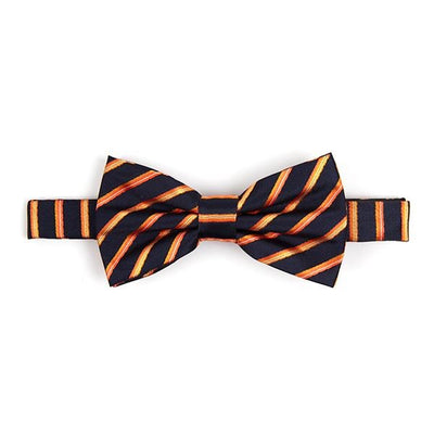 Classic Bow Tie: Navy with Orange Stripes - Cuffz