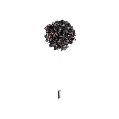 Rustic yarn black & rose flower lapel pin - Cuffz