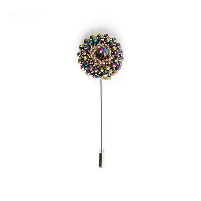 Multi colored diamanté lapel pin - Cuffz