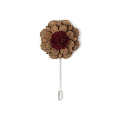 Wooden lapel pin with red oxide rustic yarn - Cuffz