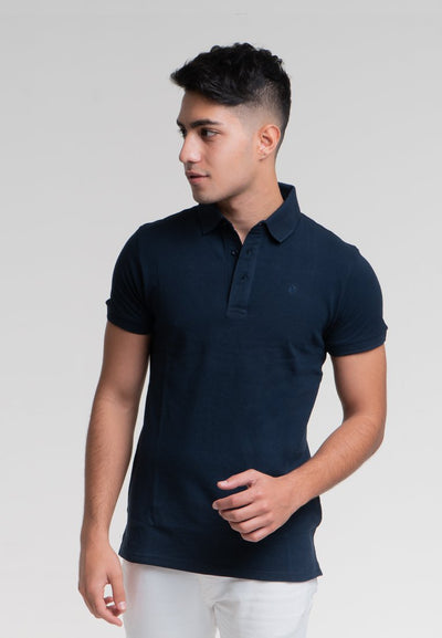 Men's Short Sleeve Polo with Logo Embroidery (Navy) - Cuffz