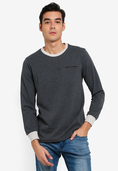 Men's Long Sleeve Tee With Zipper & Embroidery (Dark Melange) - Cuffz