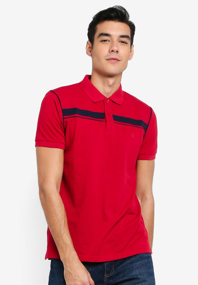 Men's Short Sleeve Polo With Stripe Piping (Dark Red) - Cuffz