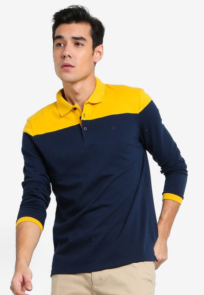 Men's Long Sleeve Cut & Sewn Polo (Navy) - Cuffz