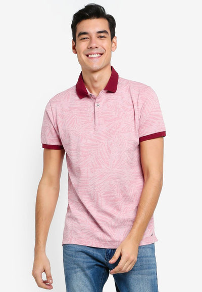 Men's Short Sleeve Full Print Polo (Red) - Cuffz