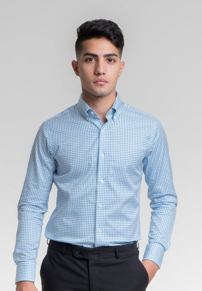 Slim Fit Blue and White Checked Dress Shirt in Egyptian Giza Cotton - Cuffz