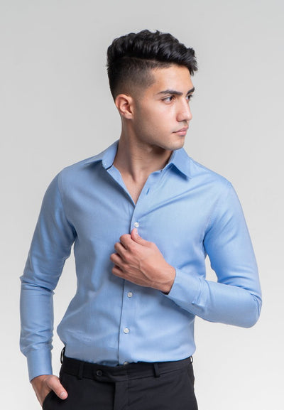 Slim Fit Blue Twill Dress Shirt in Egyptian Giza Cotton - Cuffz