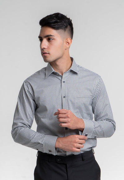 Classic Fit French Cuffs Black Checked Dress Shirt in Egyptian Giza Cotton - Cuffz